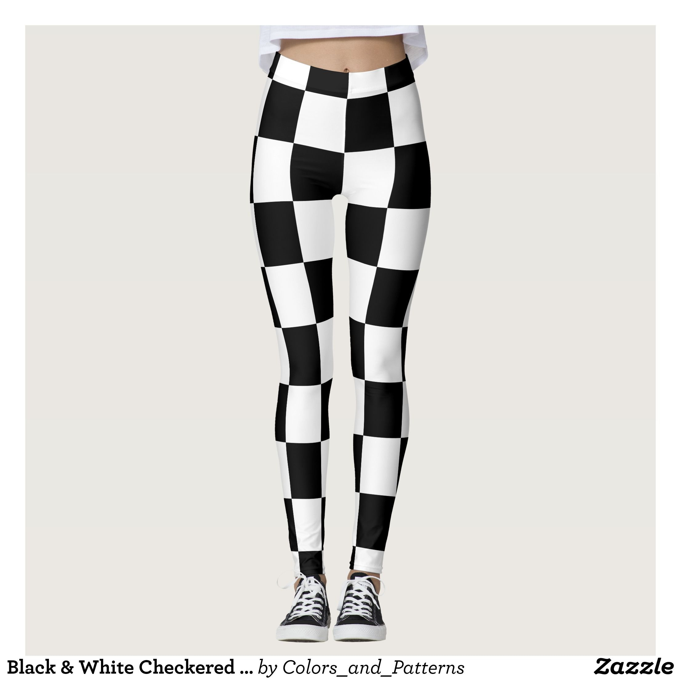 65c7ed3425ed1 Black & White Checkered Pattern Leggings : Beautiful #Yoga Pants -  #Exercise Leggings and #Running Tights - Health and Training Inspiration -  Clothing for ...