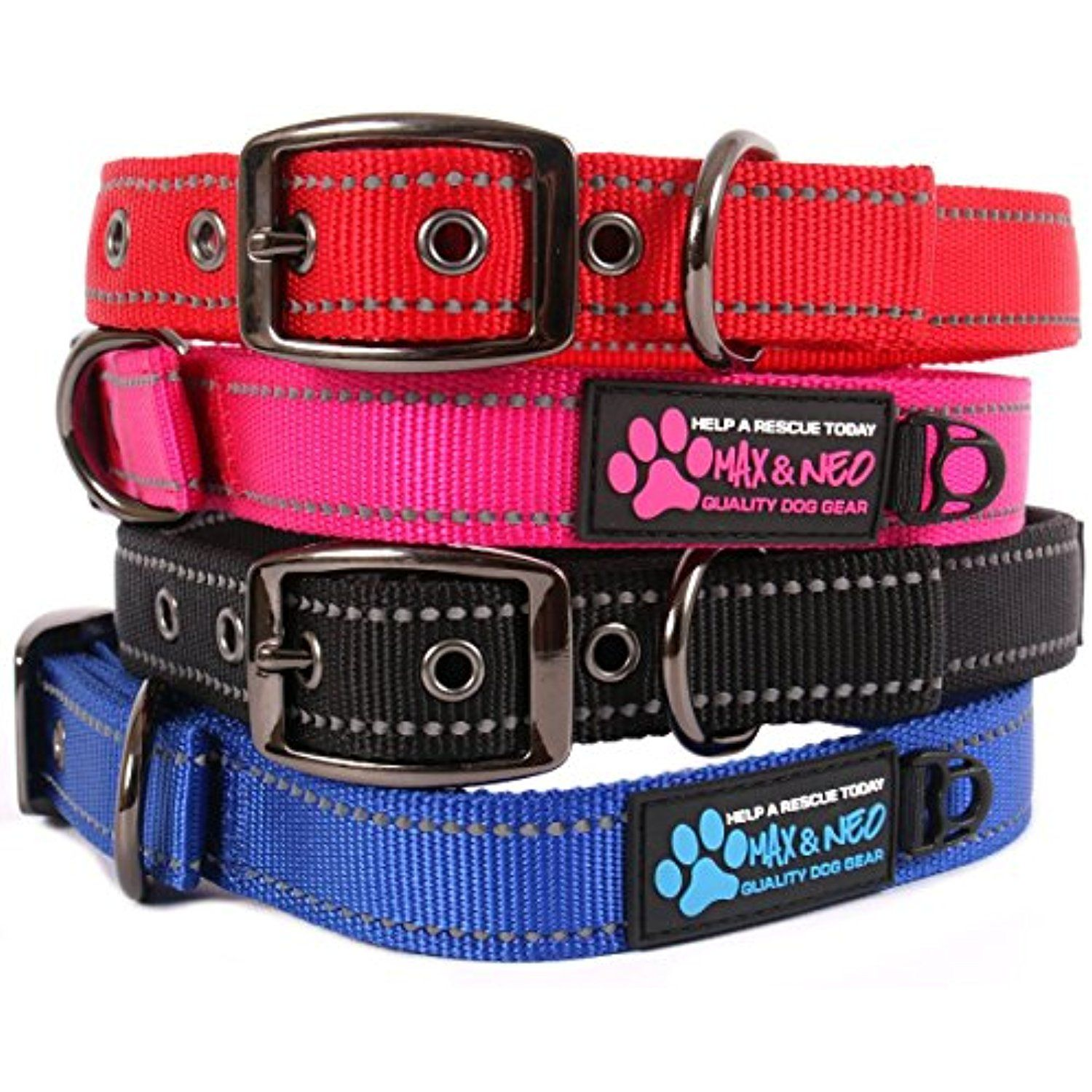 Max and Neo™ MAX Reflective Metal Buckle Dog Collar - We Donate a Collar to a Dog Rescue for Every Collar Sold (MEDIUM, PINK) @@@ You can click image to review more details. (This is an affiliate link and I receive a commission for the sales)
