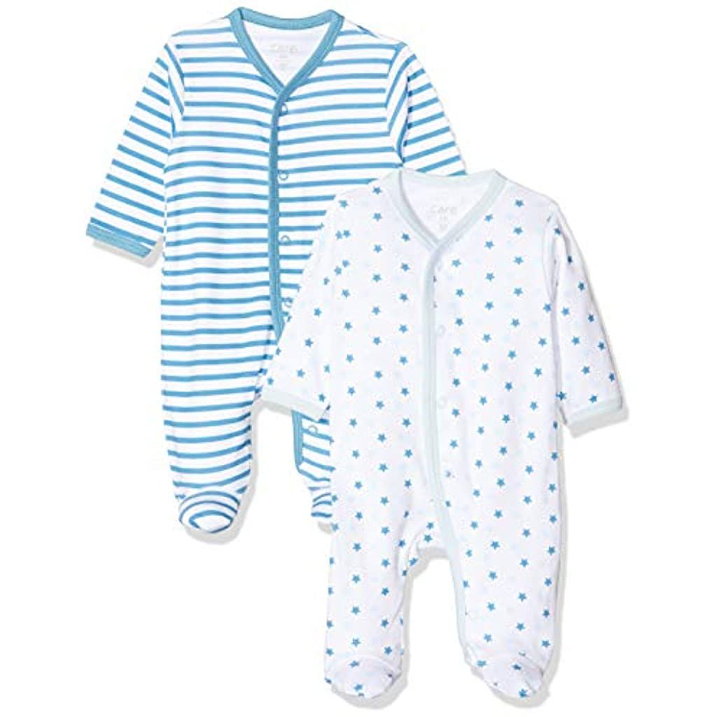 NAME IT Unisex Baby Schlafstrampler Nbnnightsuit 2p W//f Bright White Noos