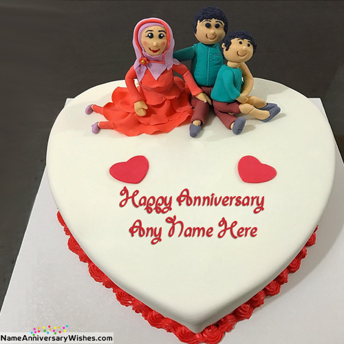 Beautiful Family Marriage Anniversary Cakes With Name