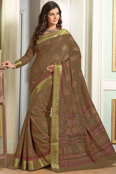Raw umber Brown Cotton Printed Casual and Party Saree Sku Code:68-3585SA591072 $ 24.00