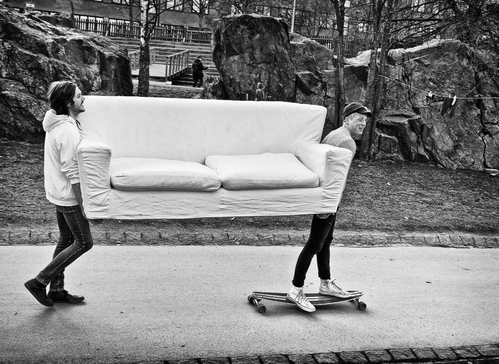 Sofa On Wheels By Swedish Photographer Nils Erik Larson. In Stockholm,  Sweden