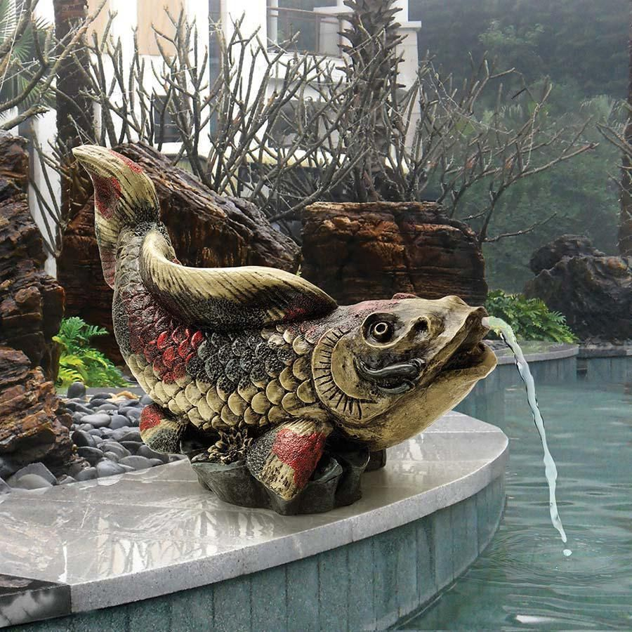 Details about Asian Grace Symbol Spitting Showa Koi Piped Statue Fish Pond Spitter Sculpture