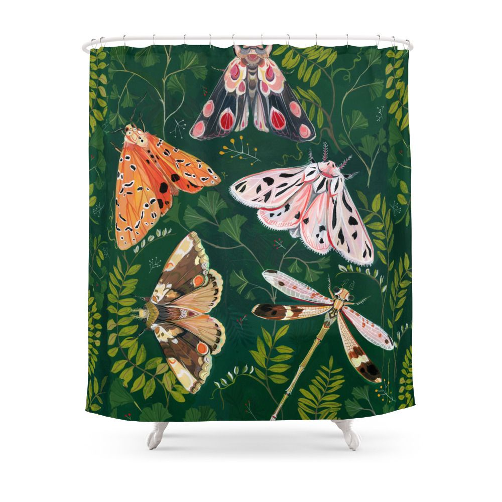 Moths And Dragonfly Shower Curtain By Claramcallister Unique