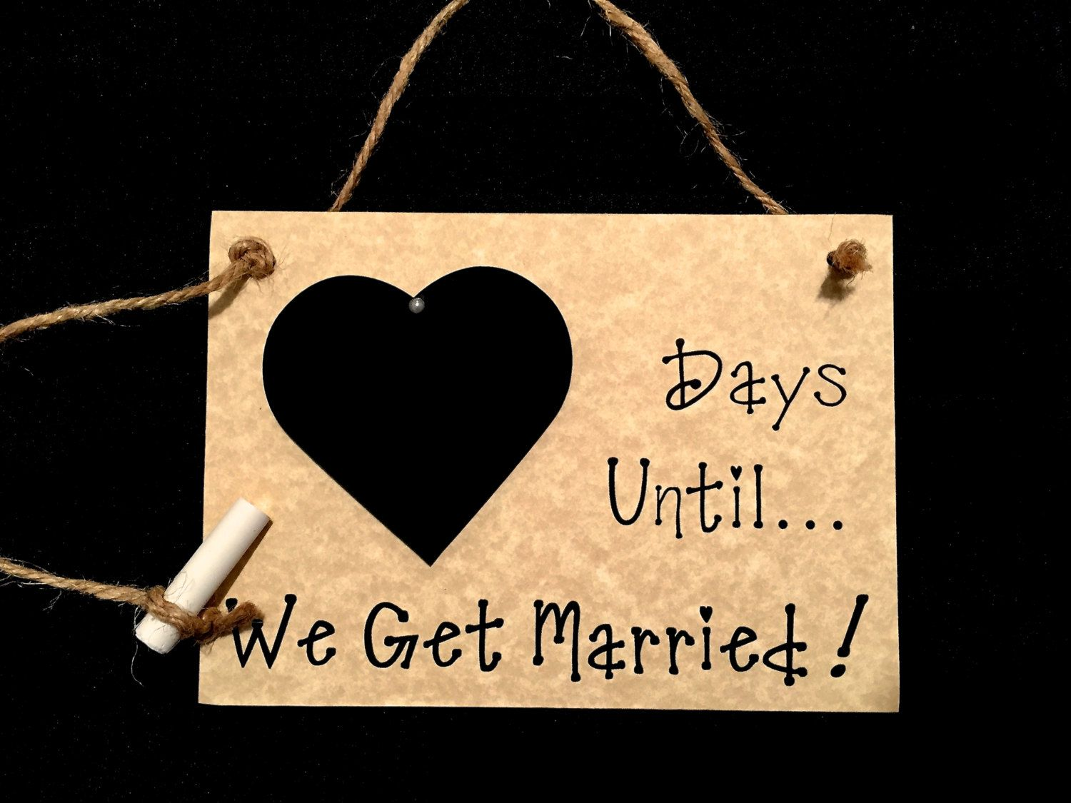 """Engagement gift. Countdown To Wedding, """"Days Until..We Get Married!"""" (Parchment color) Countdown the days to your wedding! by CountdownChalkboards on Etsy"""