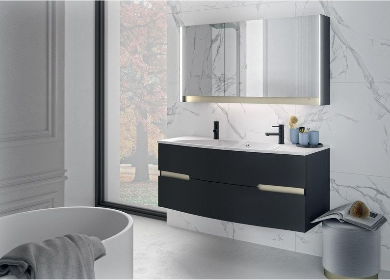 Meuble Vasque Egerie L 129 5 X H 52 X P 51 Cm Noir Egerie Leroy Merlin In 2020 Bathroom Vanity Bathrooms Remodel Vanity