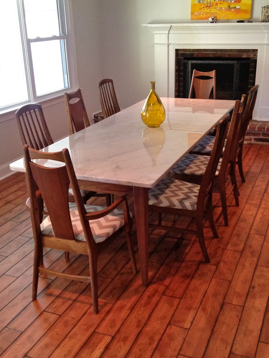 Custom Made Walnut Base For Marble Or Stone Top Dining Table Mid