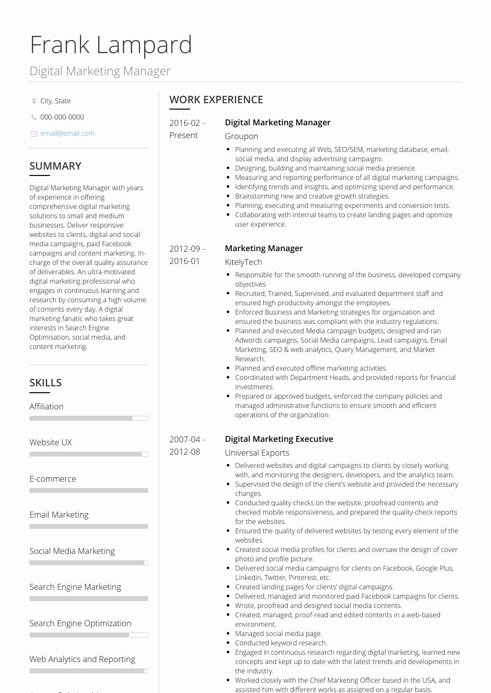 Digital Marketing Resume Sample Luxury Digital Marketing