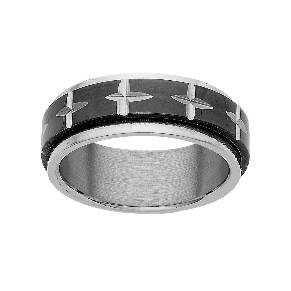 Stainless steel and black ionplated stainless steel cross spinner