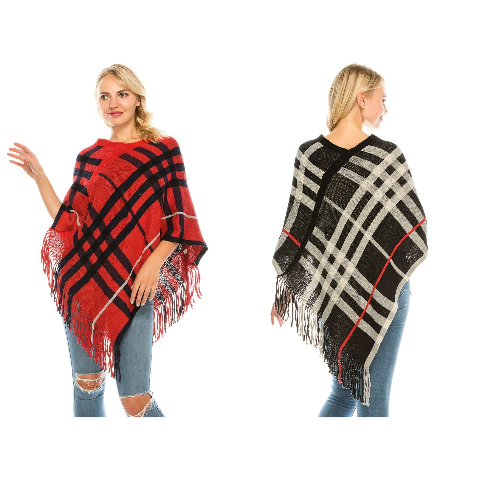 Scotish Plaid Checker Pattern Poncho - Fashion Fantasia