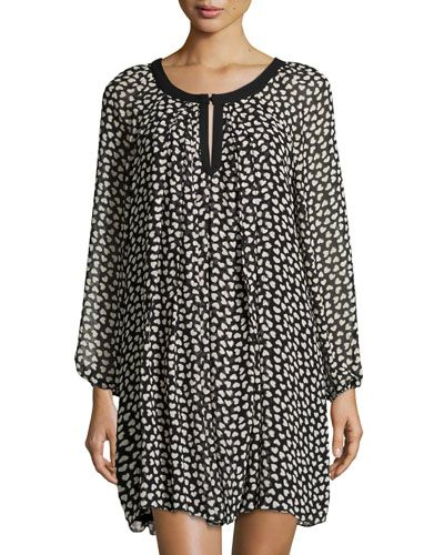 Taylor Plus Floral-Print Long-Sleeve Fit-and-Flare Dress, Black Amethyst, Women's