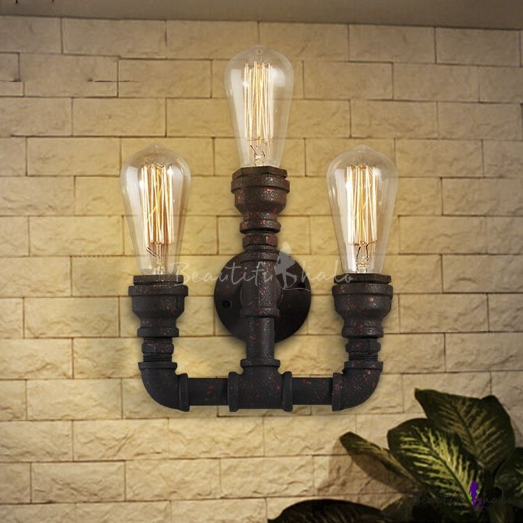 Rustic Pipe Style Industrial Rust Metal Indoor Wall Sconce with 3 Light : rustic indoor wall sconces - www.canuckmediamonitor.org