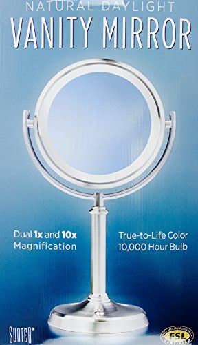 Vanity Mirror Natural Daylight 10 000 Hour Bulb Dual 1x And 10x Magnification By Sunter Bulb Fluorescent Bulb Lighted Vanity Mirror