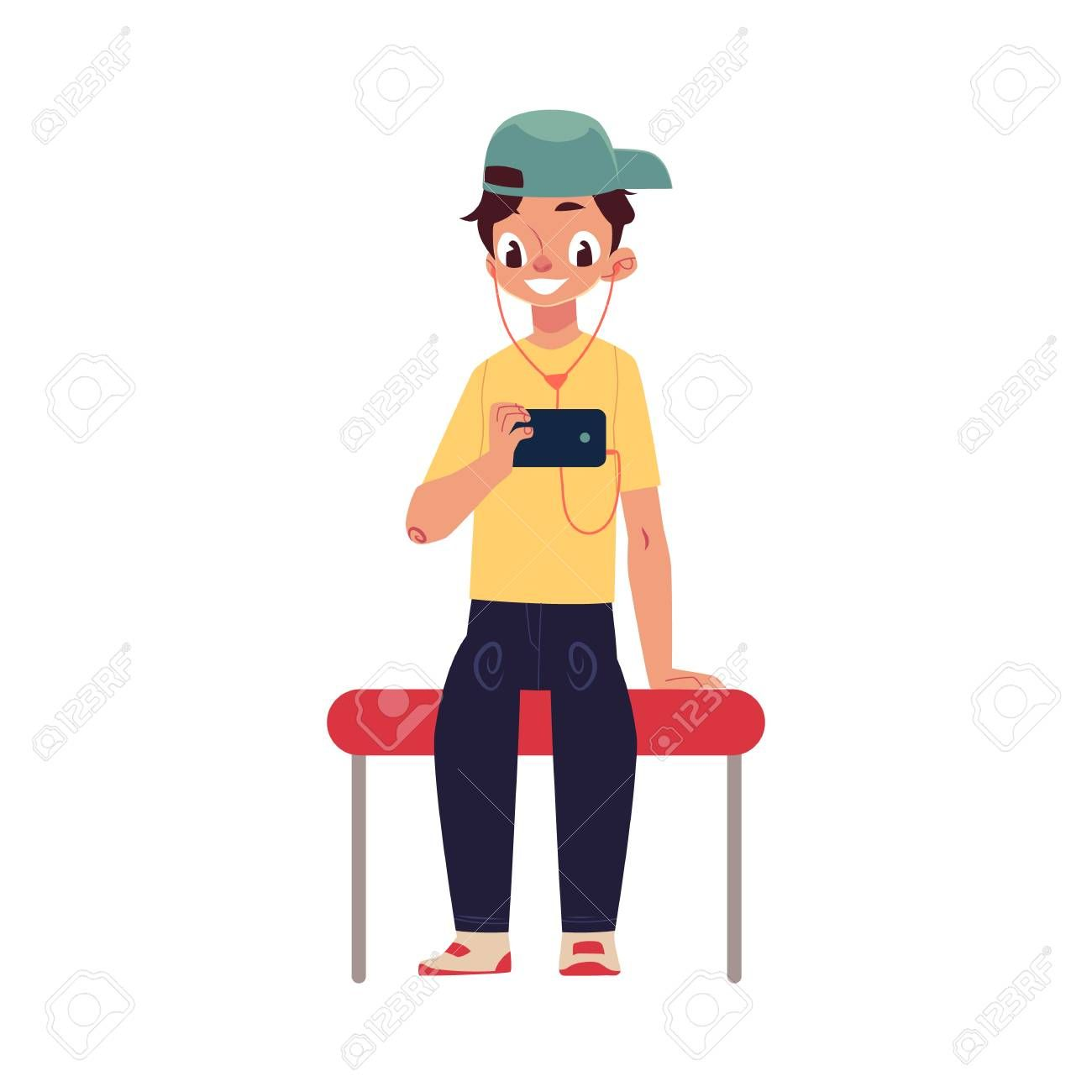 Boy Schoolboy Teenager Travelling By Subway Sitting Using Phone Cartoon Vector Illustration Isolated On White Back School Boy Website Template Design Boys