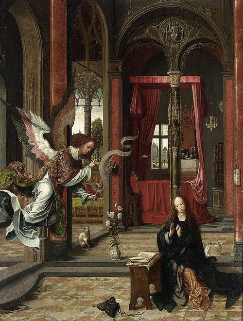 Jan de Beer- Annunciation (c.1525). Note the cat - one often appears in paintings of the Annunciation, particularly in the 16th century. This is de Beer's second painting of the Annunciation in the span of a few years, with the same white cat appearing in each.
