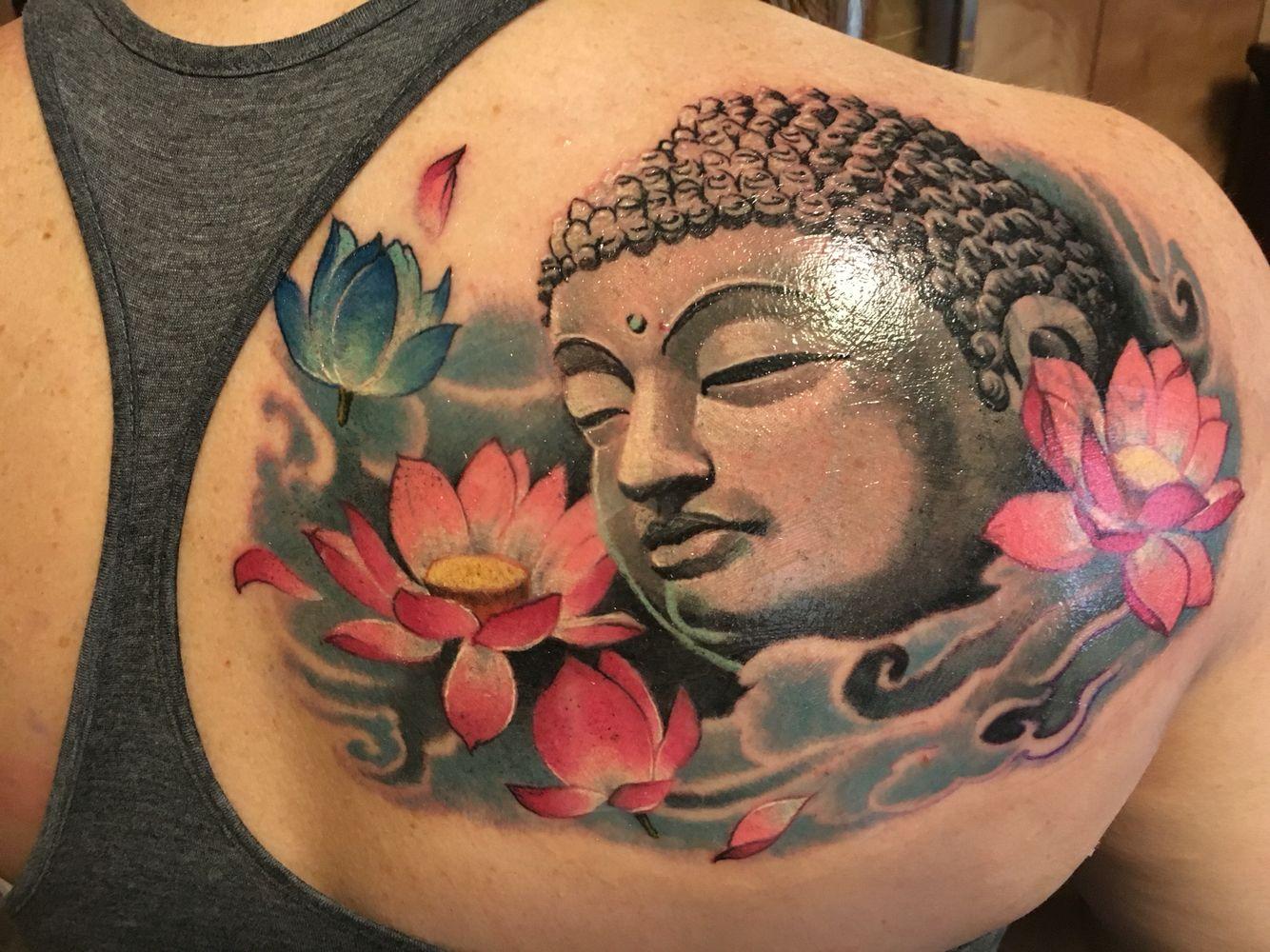 Buddha And Lotus Tattoo By Mike At Big Buddha Tattoo Studio In Lubbock Tx Buddha Tattoo Buddha Tattoos Spiritual Tattoos