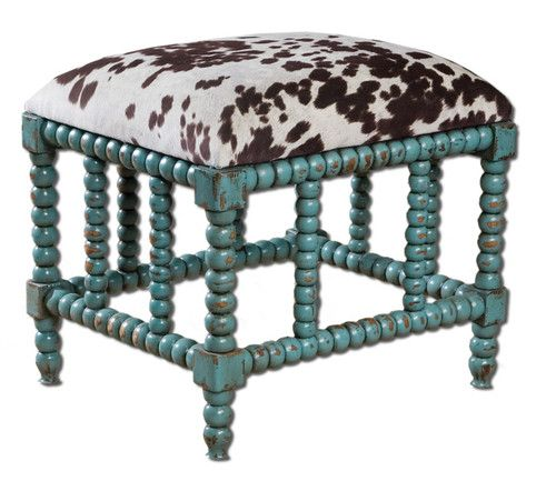 Cow Hide Wood Spindle Legs Bench Turquoise Aqua Stool Cushion ...