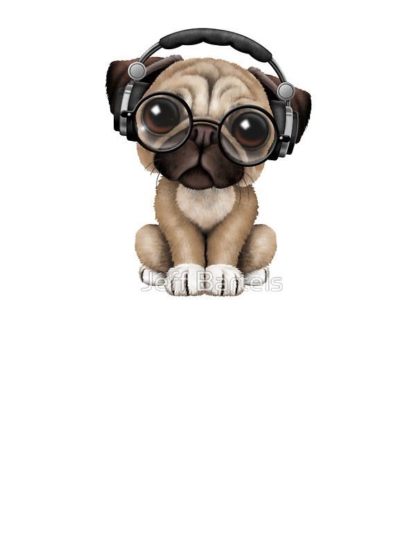 Cute Pug Puppy Dj Wearing Headphones and Glasses by Jeff Bartels