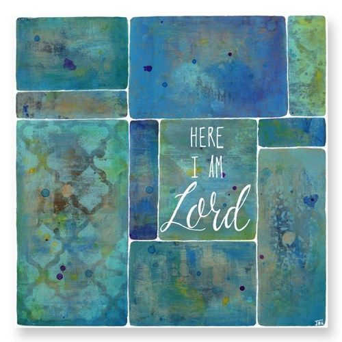 Scripture Art, Here I Am Lord, Print, Encouragement, Faith, Blue