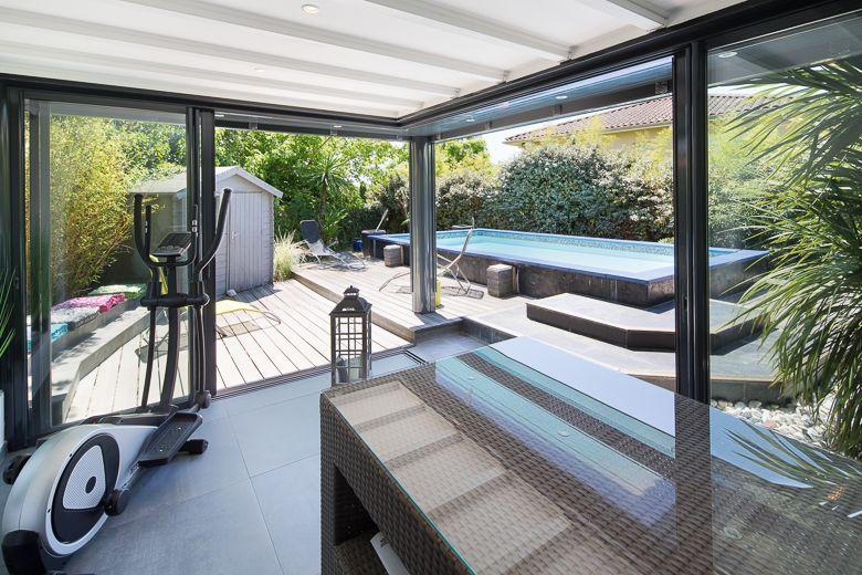 v randa extension avec coulissant d 39 angle sans pilier interm diaire extens 39 k ligne premium. Black Bedroom Furniture Sets. Home Design Ideas