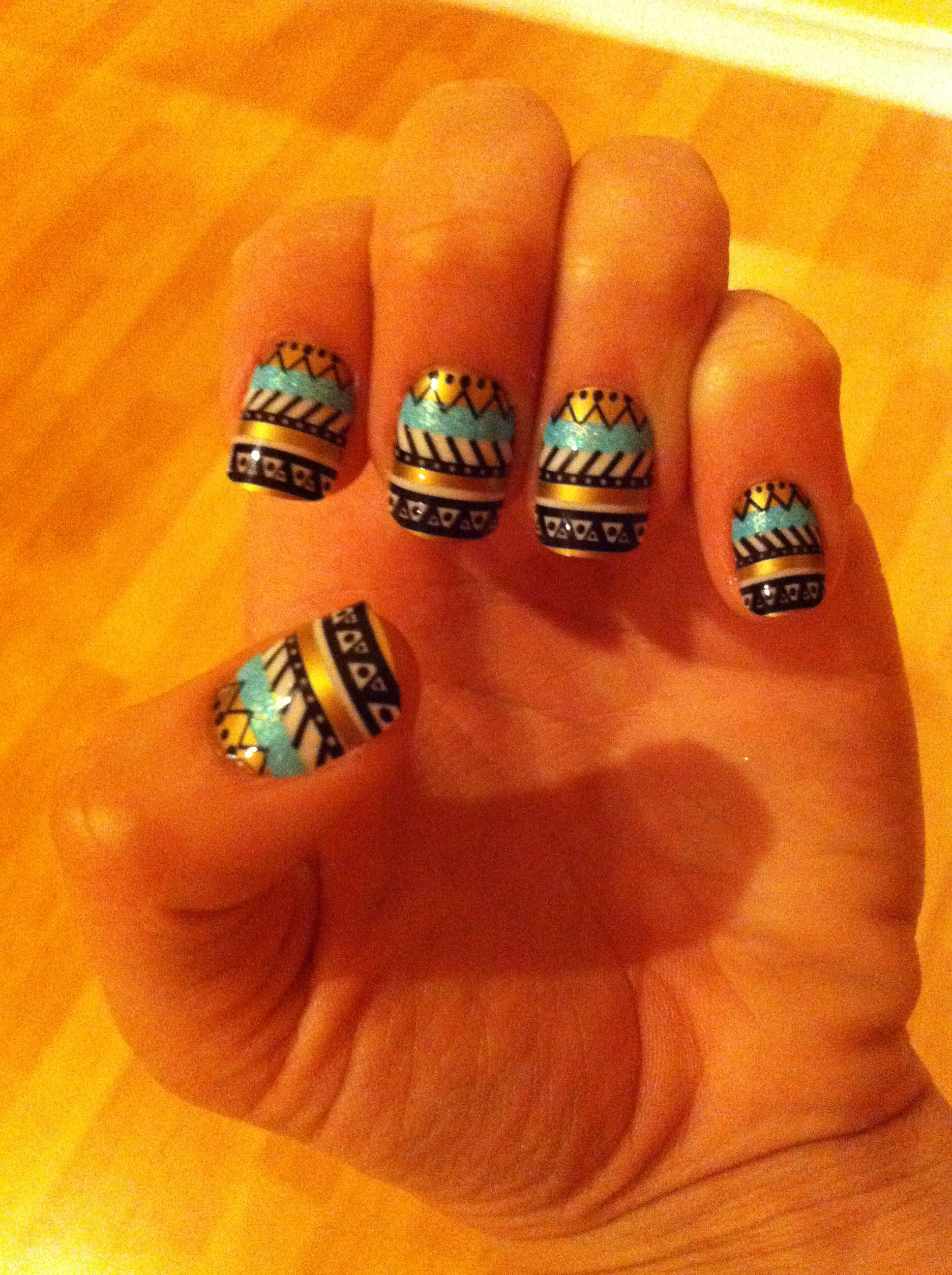 cute aztec nail design icing