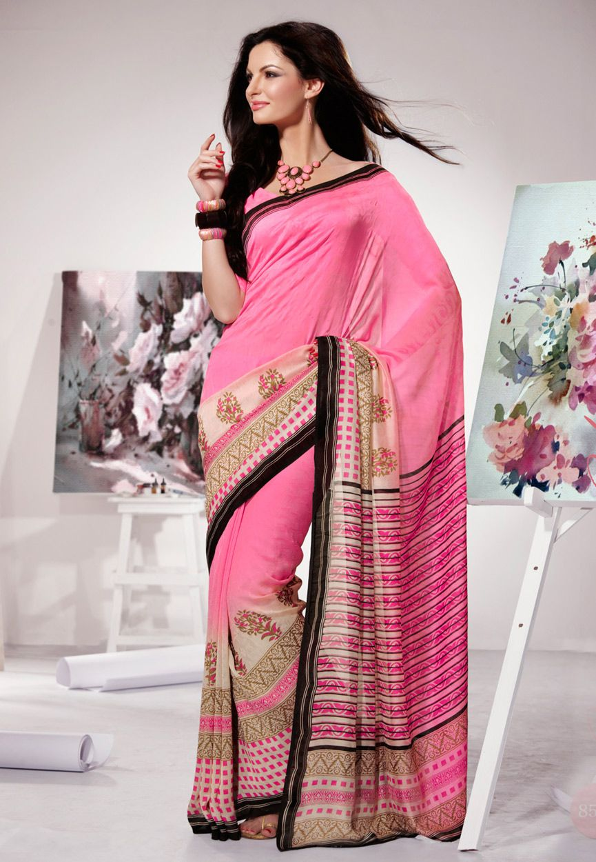 Pink Faux Jacquard Chiffon Saree with Blouse: STS2478 | Collection ...