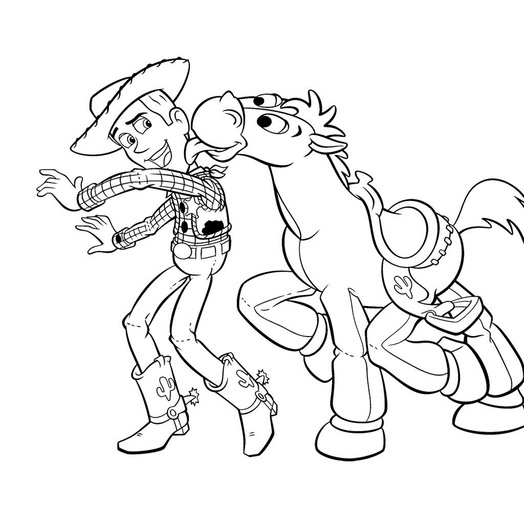 Toy Story Woody And Bullseye Coloring Page For Kids Toy Story