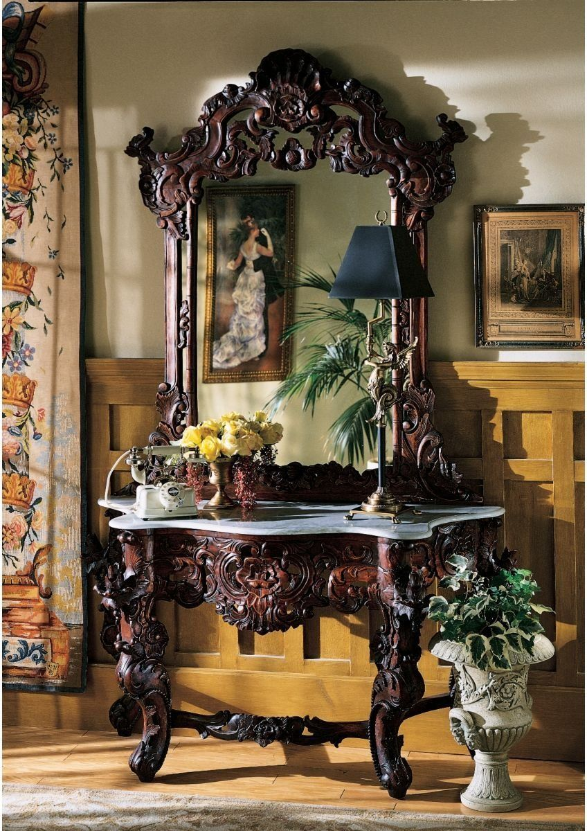 Hand Carved Solid Mahogany Antique Replica Hapsburg Mirror Topped Console  Table Good Looking