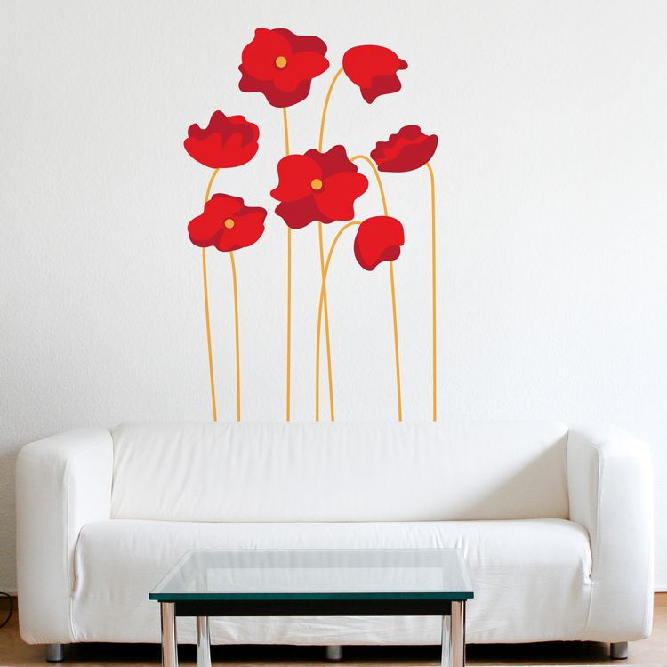 Tall Red Poppies - Set of 7 - Printed Wall Decals Graphics Stickers