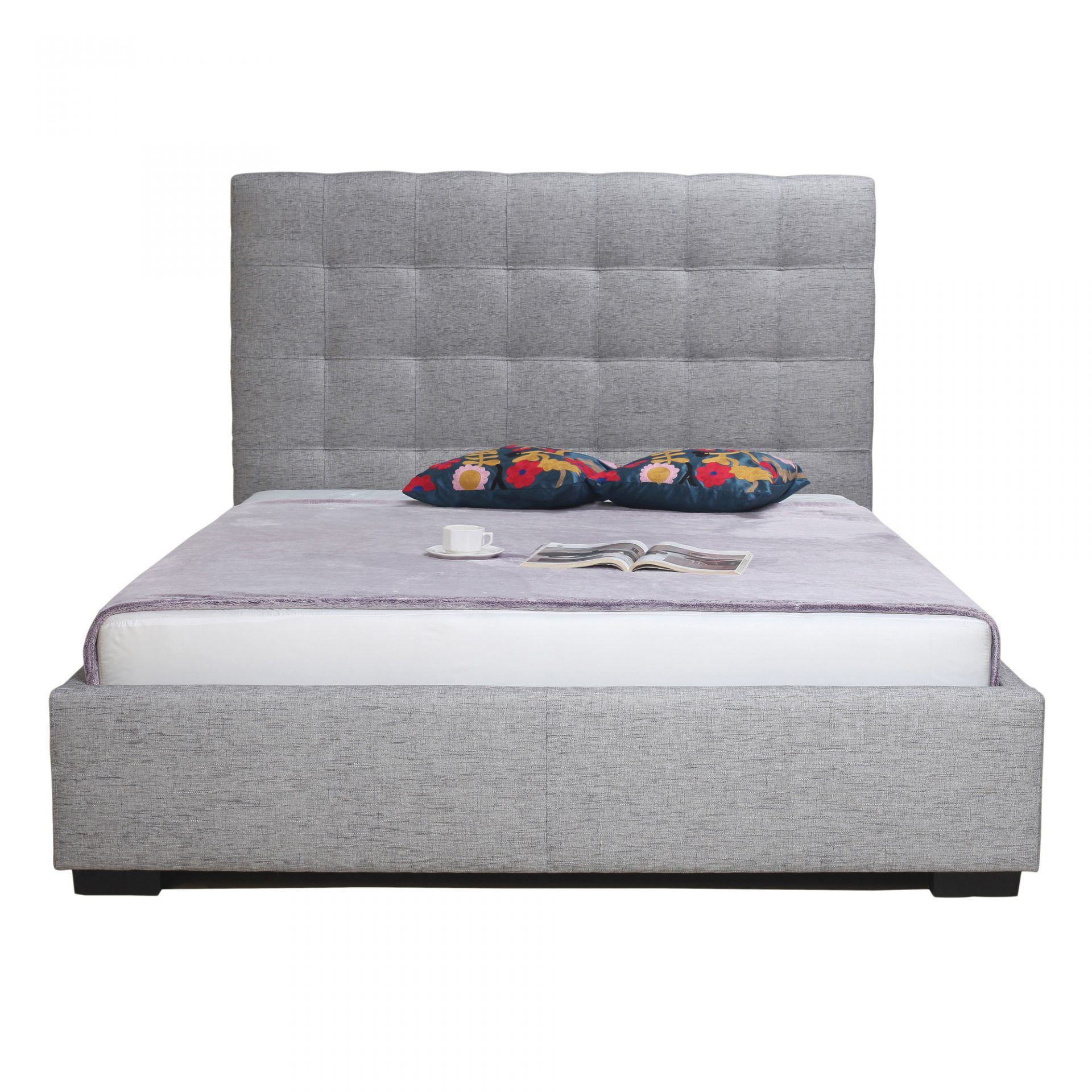 Belle Storage Bed King Light Grey Fabric - Beds - MOE\'S Wholesale ...
