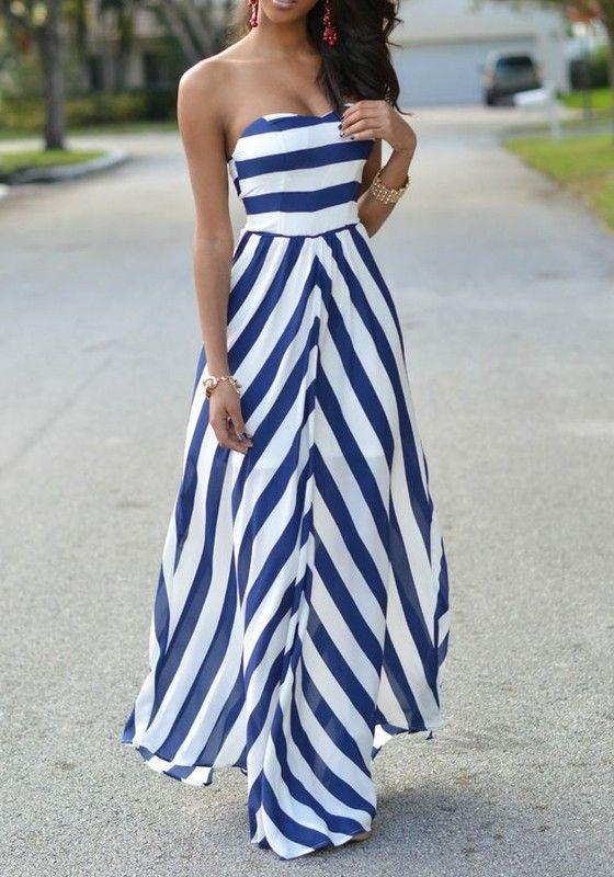 Blue Striped Print Bandeau Backless Boat Neck Fashion Maxi Dress