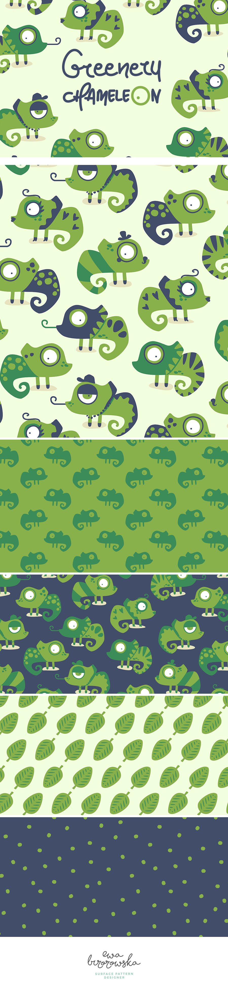 Greenery Chameleon - Surface Pattern Design Collection. Greenery is the colour chosen by Pantone as a color of the year 2017. It's bold, fresh and ehmm... green! Just perfect for chameleon ;)