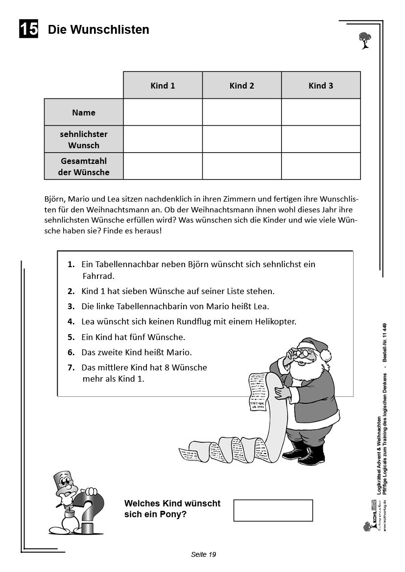 logikrätsel advent  weihnachten  logik rätsel