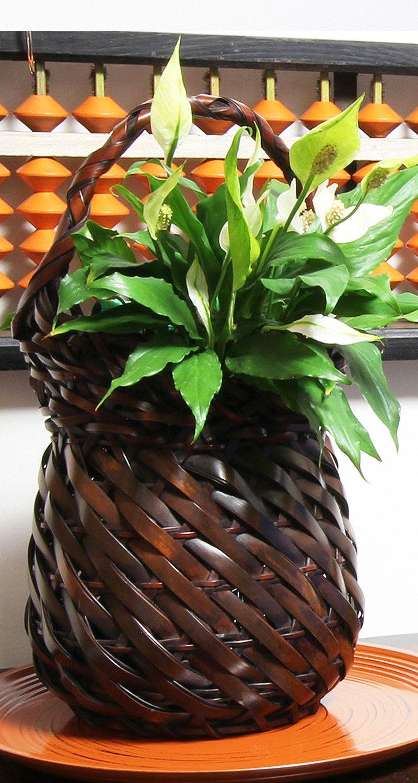 Ikebana basket, woven bamboo basket, ikebana vases, bamboo