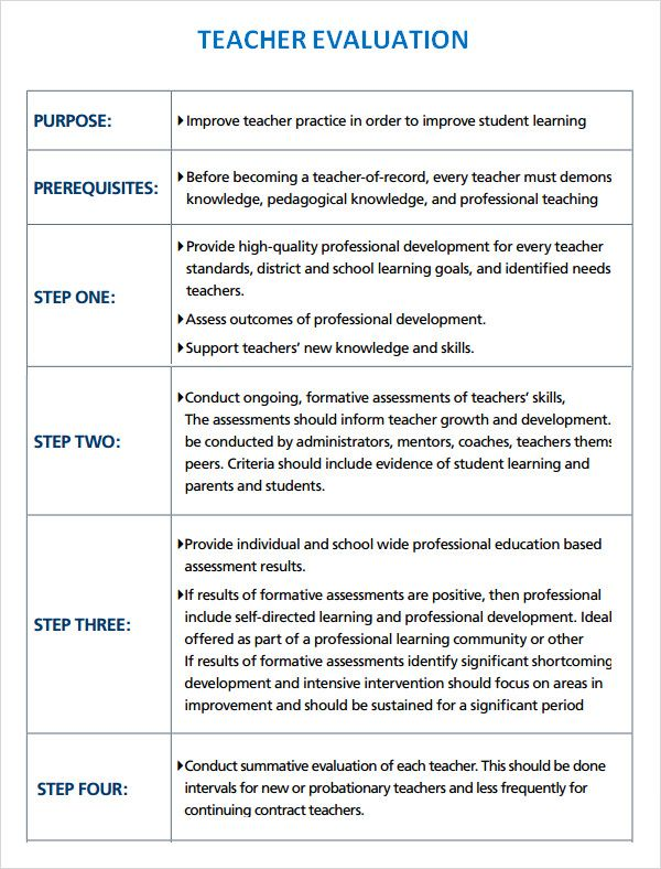 Sample Teacher Evaluation 8 Documents In Word Pdf Teacher Evaluation Evaluation Form Training Evaluation Form