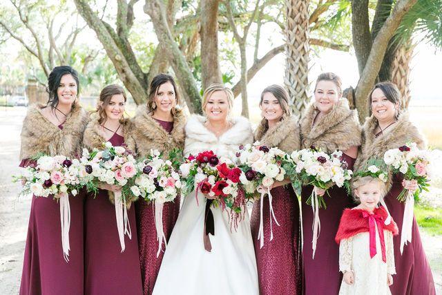 Bridesmaids In Burgundy + Fur Capes
