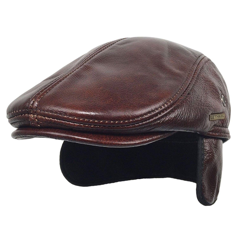 f28d2da335f151 Flat Cap Cabby Hat Genuine Leather Vintage newsboy Cap IVY Driving ...