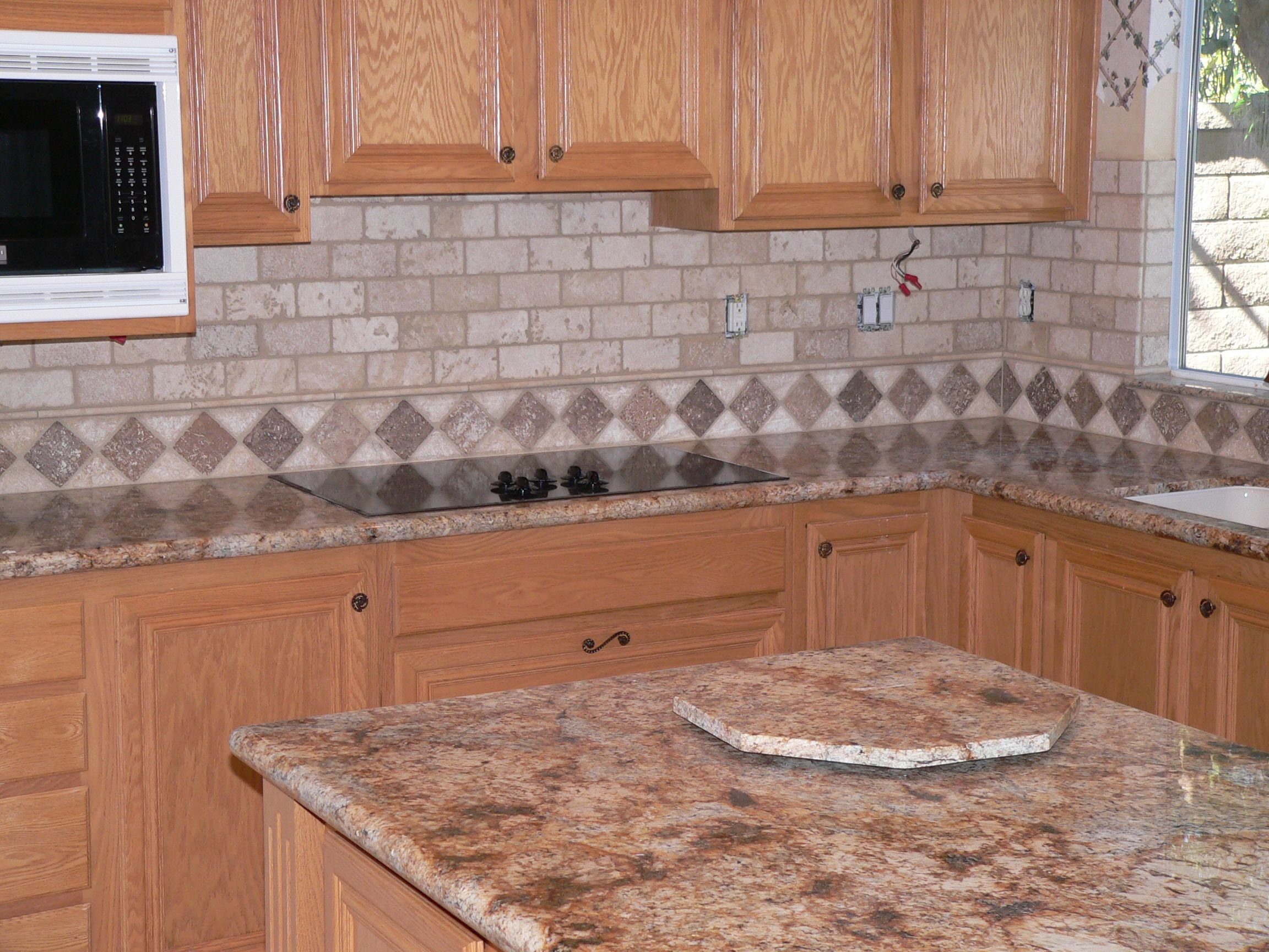 Decorative Tile Kitchen Backsplash Kitchen Tile Ideas  Different Colors On Diagonal Pattern All