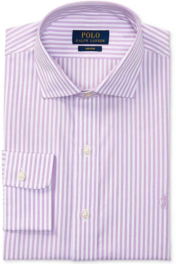 Polo Ralph Lauren Men\u0027s Estate Classic/Regular Fit Non-Iron Striped Dress  Shirt - Purple/ White 17 36/37 | Polo ralph lauren, Dress shirts and Polos