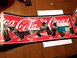Vintage rare collectible coca cola wallpaper border coke bottles red black trim i love coca - Vintage coke wallpaper ...