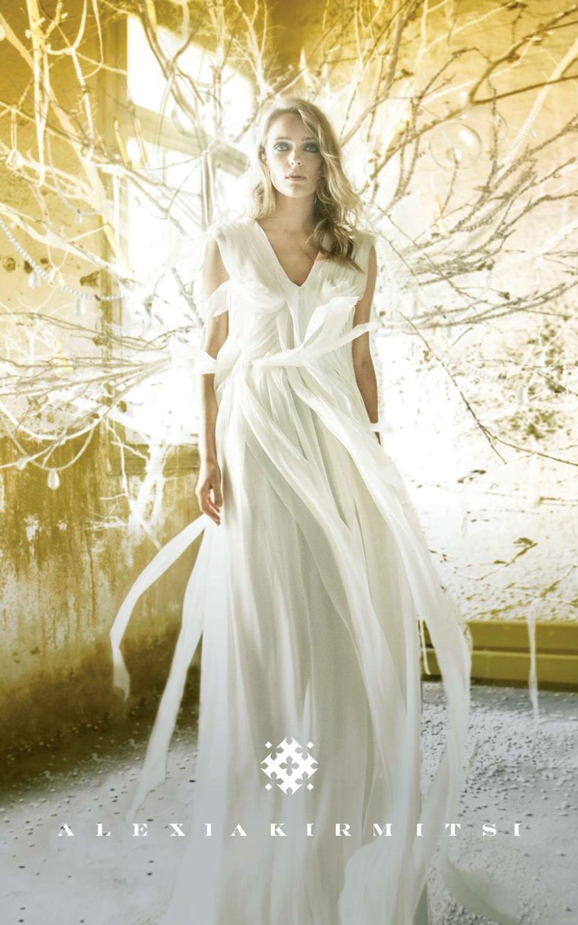 Wedding Dress With Cut And Layered Silk Mousseline Fabric Strips Feeling Of Air Flow