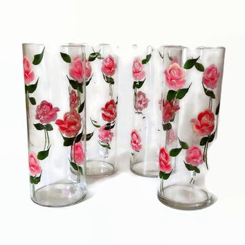 Vintage Shabby Chic Vases-Handpainted Pink Roses