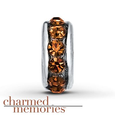 Charmed Memories Orange Spacer Charm Sterling Silver Stock