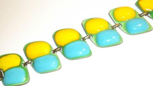 Vintage-Signed-Kay-Denning-Modernist-Mod-MCM-Enamel-Over-Copper-Linked-Bracelet