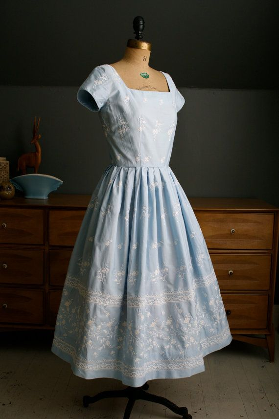 1950's Pale Blue Embroidered Cotton Day by birdandflowervintage