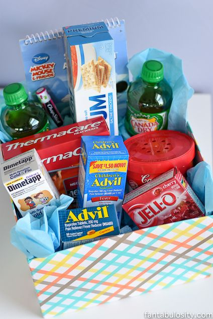 Get well soon gift basket ideas reliefishere basket ideas flu tlc kit get well gift negle Image collections