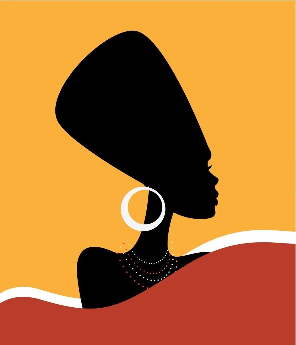 Uncredited Stock Image Nefertiti Contemporary African Inspired Silhouette Profile African Art Paintings Africa Art Art