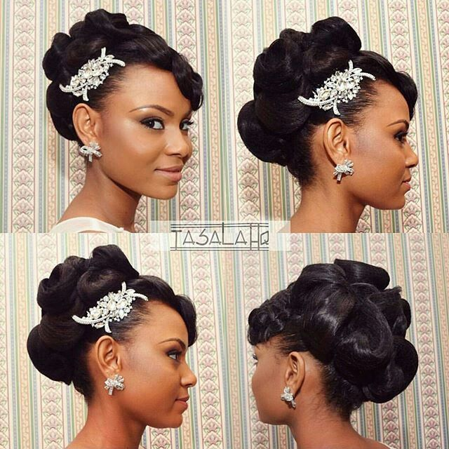 Wedding hairstyle afro american | Chignon mariage ...