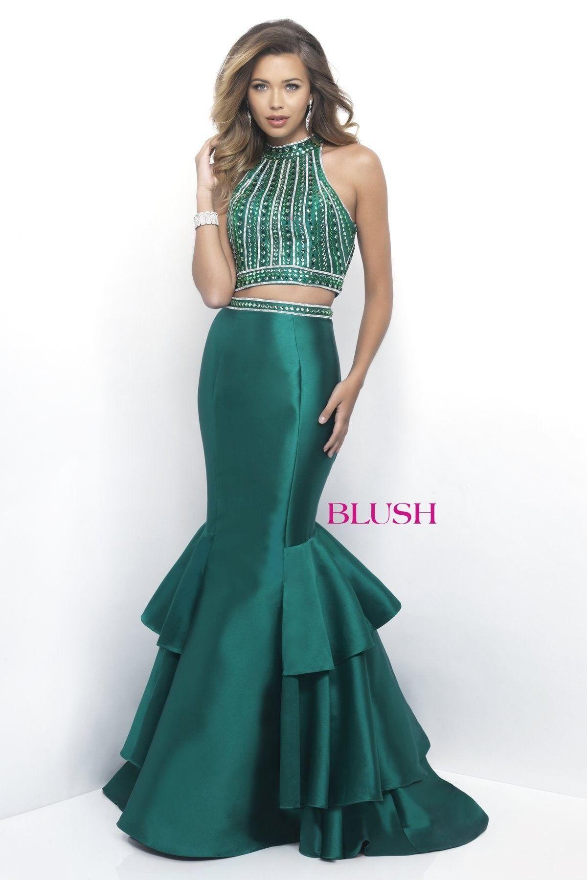 Blush prom emerald high neckline tiered mermaid prom dress