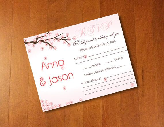 diy wedding invitation microsoft word template pink rsvp sakura